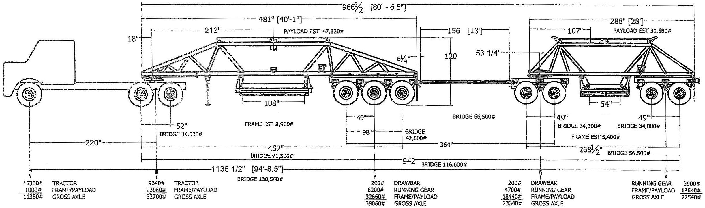 Ranco Light Weight Bottom Dump Train Drawing
