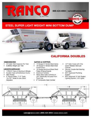 Ranco Steel Super Light Weight Mini Bottom Dump - California Doubles