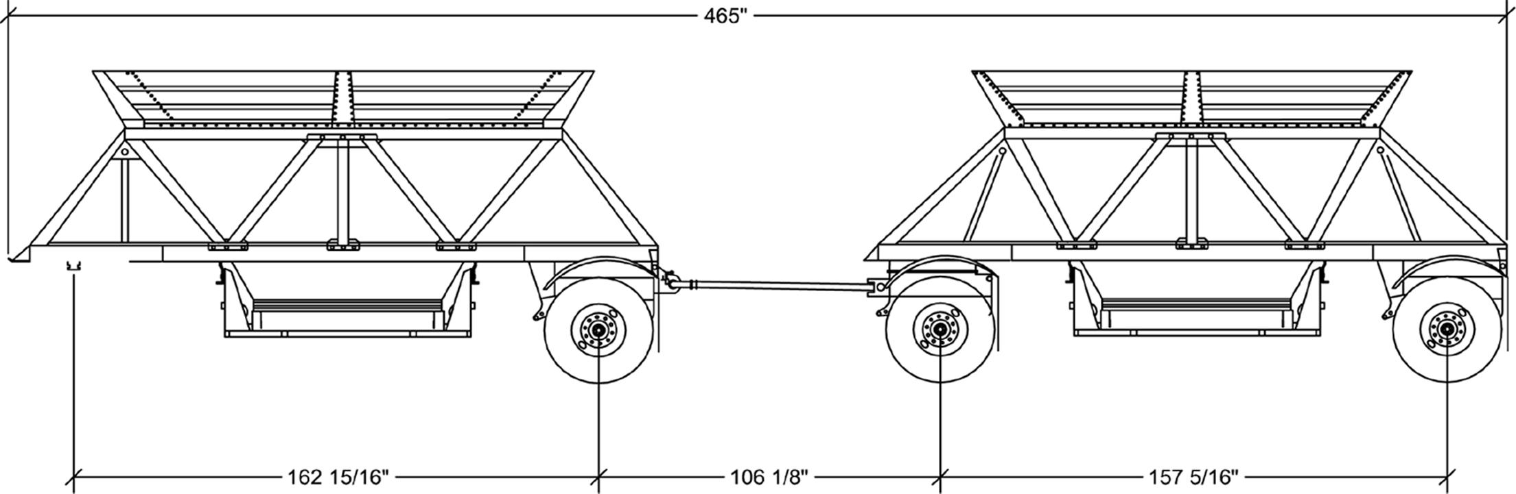 Ranco Steel Mini Bottom Dump Trailer Drawing