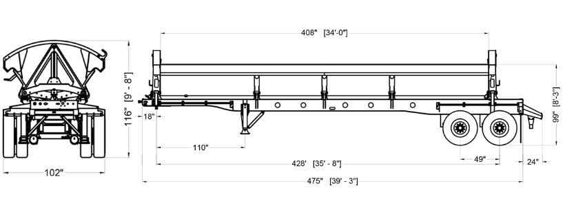 Ranco-SD22-42-2-2-Axle-Side-Dump Trailer Drawing