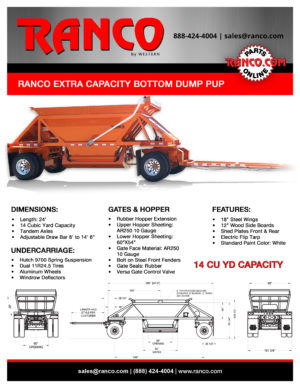 Ranco Extra Capacity Bottom Dump Pup Brochure Image